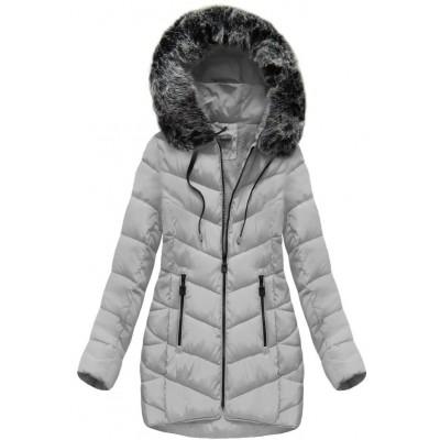 Dámska zimná bunda s kapucňou šedá (B1039) 830b11b393b