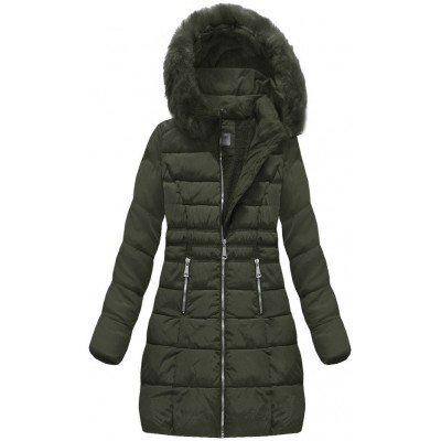Dámska zimná bunda khaki (B1052-30)