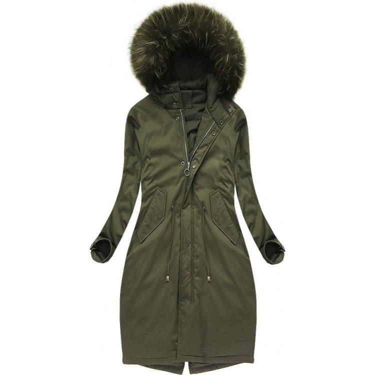 Dámska bavlnená zimná bunda khaki  (7085/1)