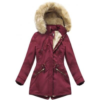 Teplá dámska zimná bunda parka bordová (R1069-20)