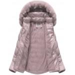 Dámska prešívaná zimná bunda pudrovoružová (B1038-AB)