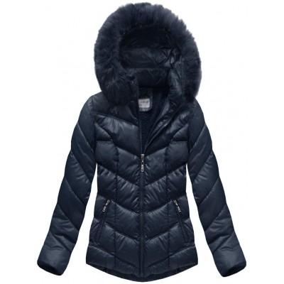 Dámska prešívaná zimná bunda modrá (B1038-AB)