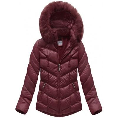 Dámska prešívaná zimná bunda bordová (B1038-AB)