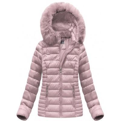 Dámska prešívaná zimná bunda ružová (B1033-30)