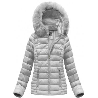 Dámska prešívaná zimná bunda šedá (B1033-30)