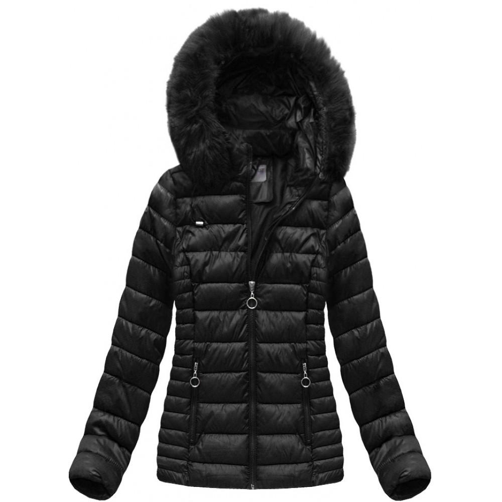 ff473307b0a1 Dámska prešívaná zimná bunda čierna (B1033-30)