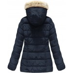 Dámska prešívaná zimná bunda tmavomodrá (R1051)