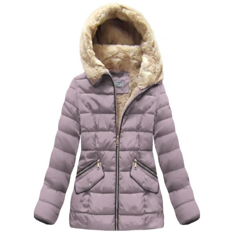 Dámska prešívaná zimná bunda staroružová (R1051)