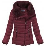 Prešívaná dámska zimná bunda bordová (R1058)