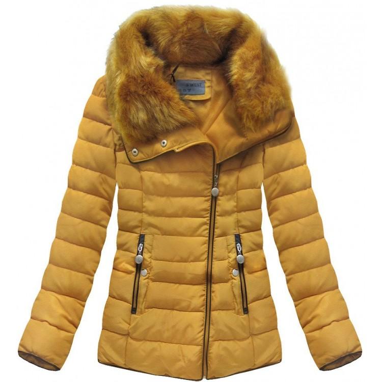 Prešívaná dámska zimná bunda žltá (R1058)