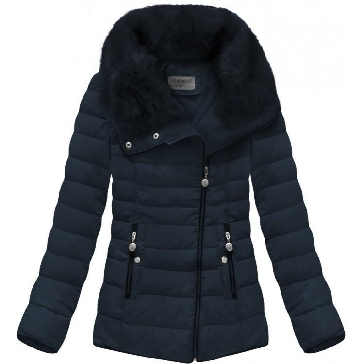 Prešívaná dámska zimná bunda modrá (R1058)