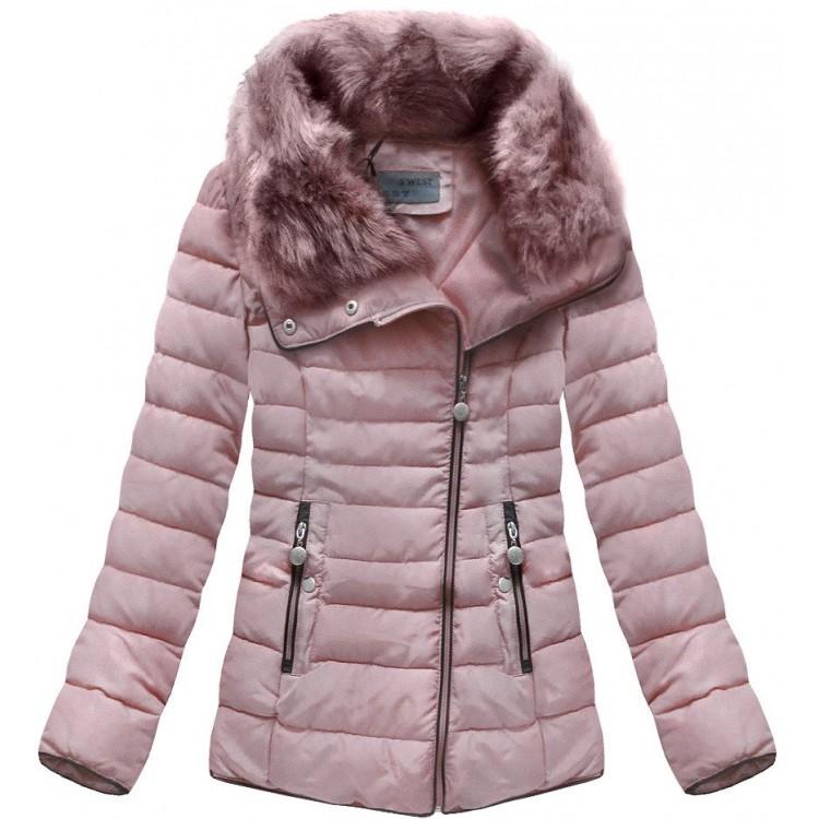 Prešívaná dámska zimná bunda staroružová (R1058)