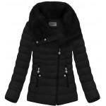 Prešívaná dámska zimná bunda čierna (R1058)