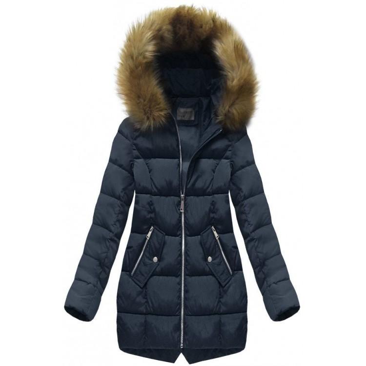 Dámska prešívaná zimná bunda tmavomodrá (B1050-30)
