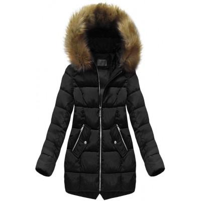 Dámska prešívaná zimná bunda čierna (B1050-30)