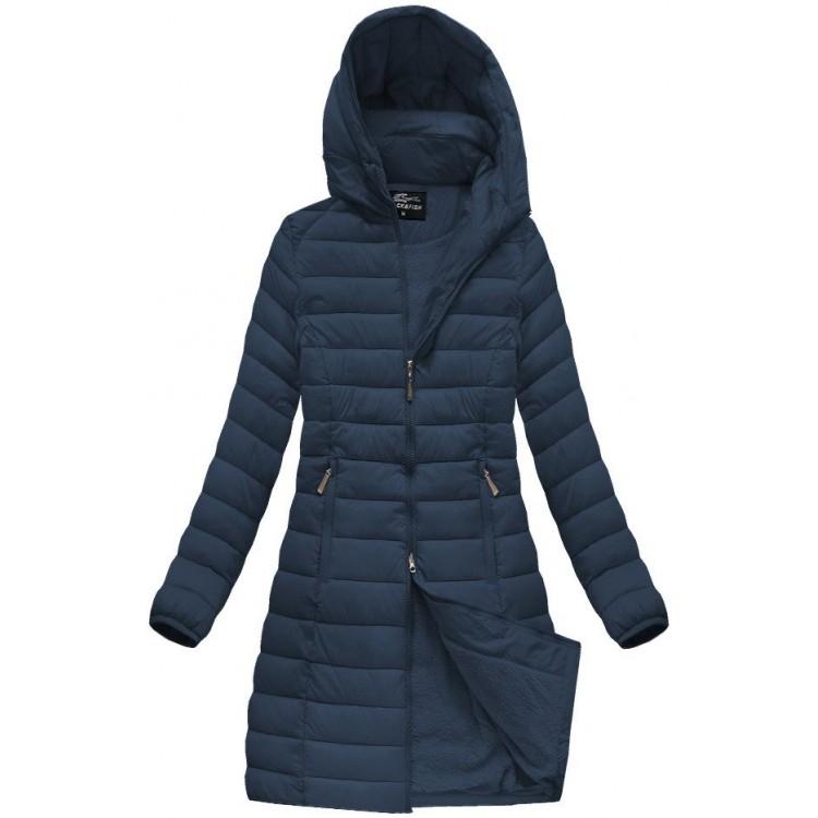 Dámska dlhá prešívaná zimná bunda tmavomodrá (YB919B)