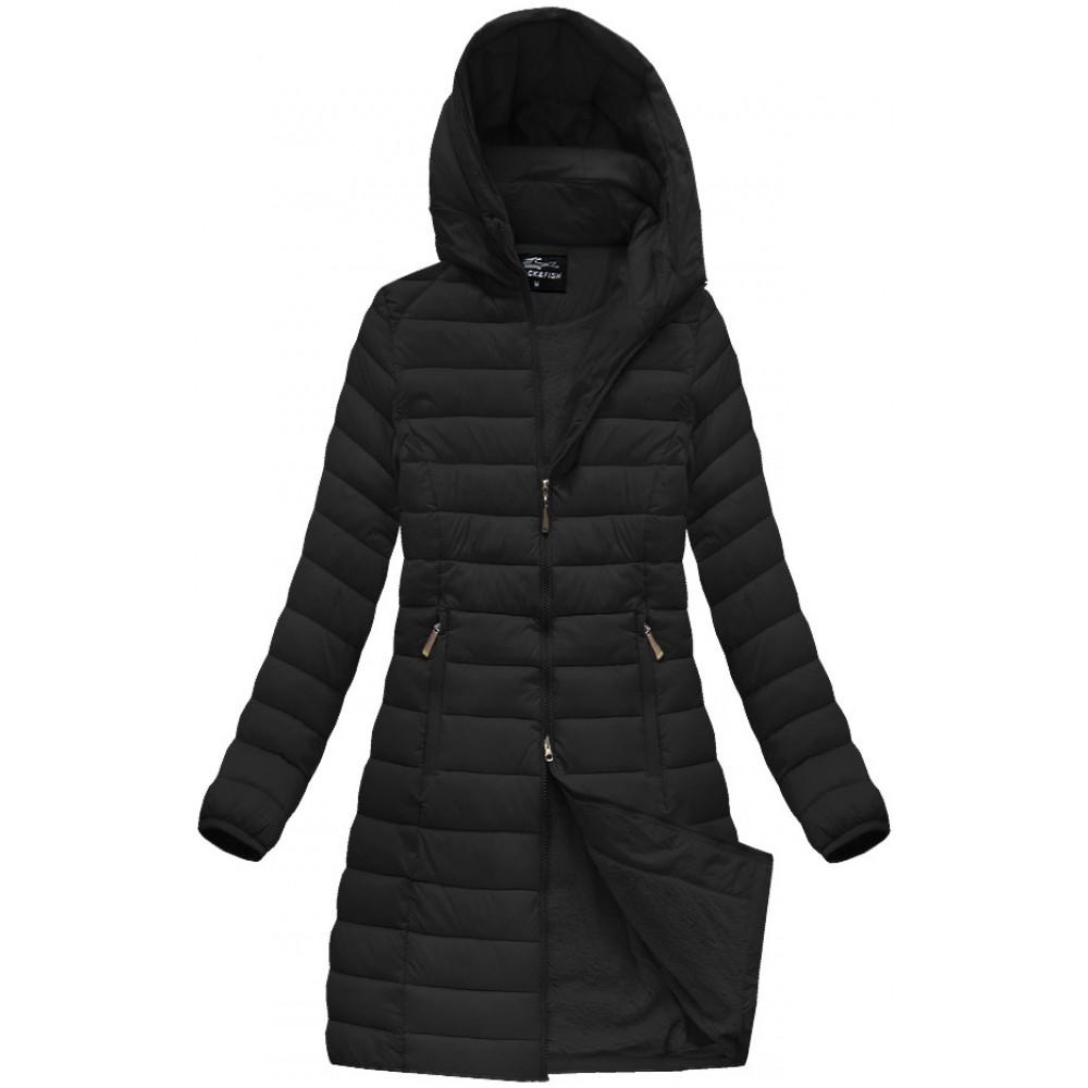 3916494d3b99 Dámska dlhá prešívaná zimná bunda čierna (YB919B)