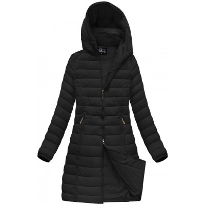 Dámska dlhá prešívaná zimná bunda čierna (YB919B)