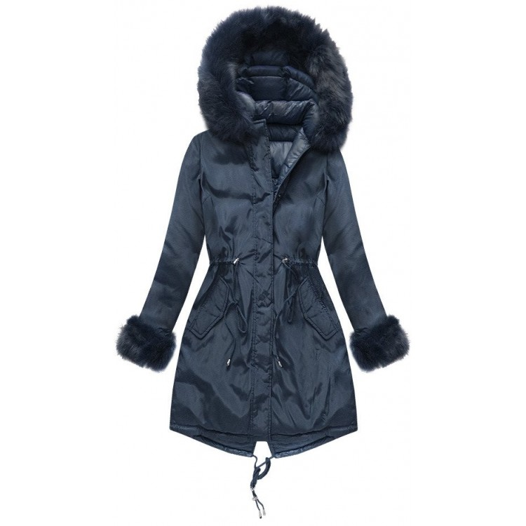 Dámska obojstranná zimná bunda tmavomodrá (PM7210-61)