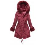 Dámska obojstranná zimná bunda bordová (PM7210-61)
