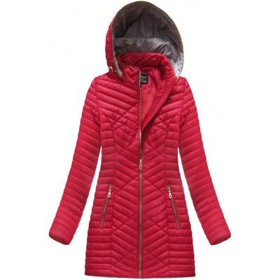 Dlhá dámska prechodná jarná bunda červená (MH-3398)