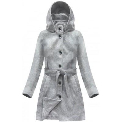 Dámsky kabát s kapucňou šedý (6798) c096ce5969b