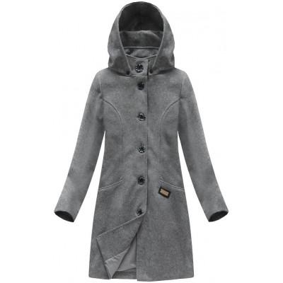 Dámsky vlnený kabát tmavošedý (6801)