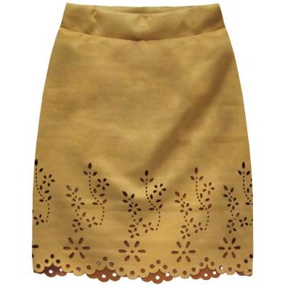 Dámska zamatová sukňa horčicová (3070)