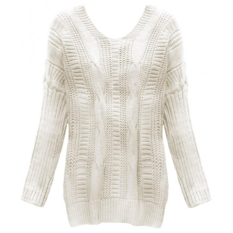 Dámsky sveter s viazaním na chrbte béžový (183ART)