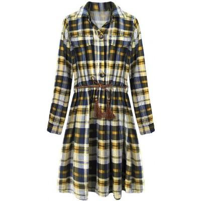 Dámske bavlnené šaty modro-horčicové (188ART)