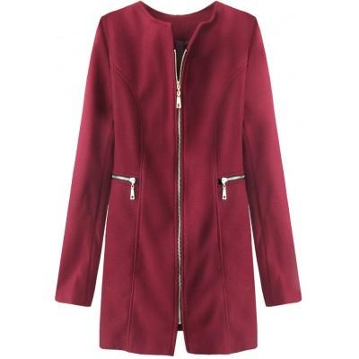 Dámsky kabát z vreckami bordový (200ART)