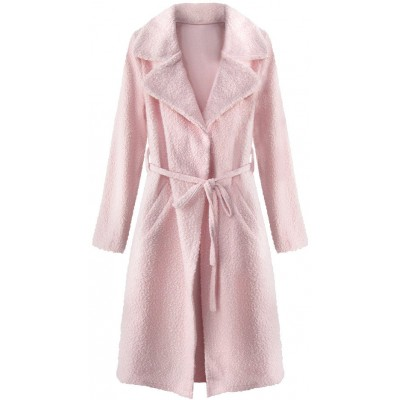 Dámsky kabát z golierom pudrovoružový (22593) 564d9541be5