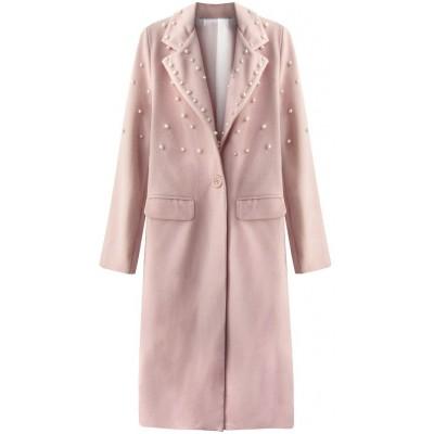 Dlhý dámsky kabát s perlami staroružový (195ART)