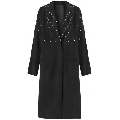 Dlhý dámsky kabát s perlami čierny (195ART)