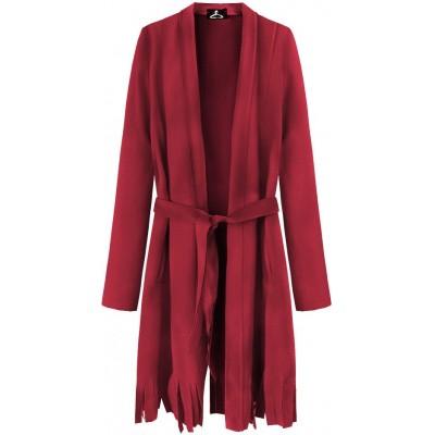 Dámsky zamatový plášť červený (G809)
