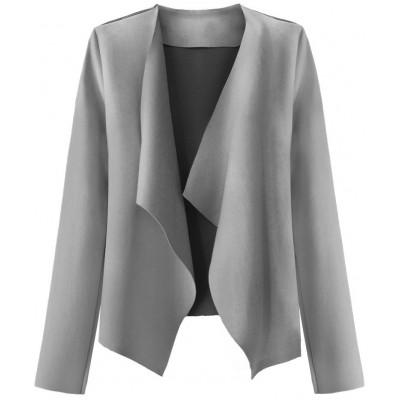 Krátky dámsky semišový kabátik šedý (9340)