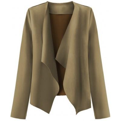 Krátky dámsky semišový kabátik béžový (9340)