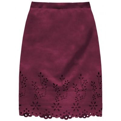 Dámska zamatová sukňa bordová (3229)