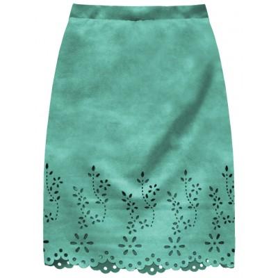 Dámska zamatová sukňa mätová (3229)