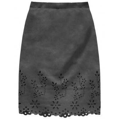 Dámska zamatová sukňa tmavošedá (3229)