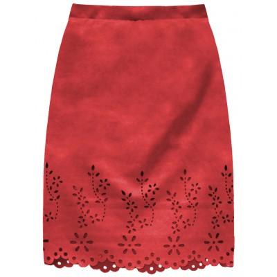Dámska zamatová sukňa červená (3229)