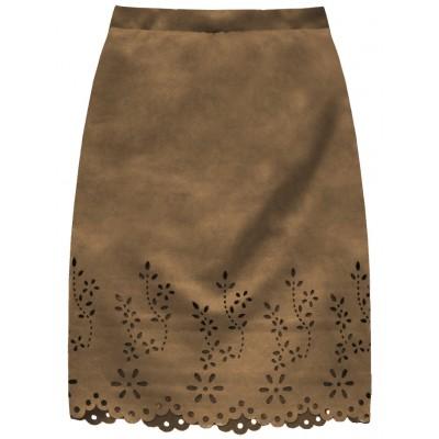 Dámska zamatová sukňa karamelová (3229)