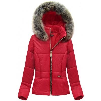 Dámska krátka jarná bunda červená (X8055X)