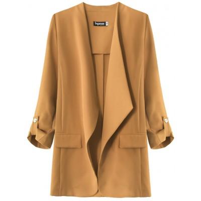 Dámsky kabátik s 3/4 rukávmi karamelový  (268ART)