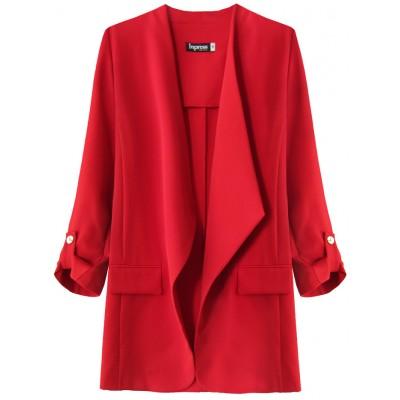 Dámsky kabátik s 3/4 rukávmi červený (268ART)