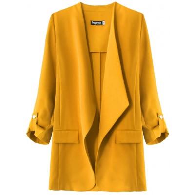 Dámsky kabátik s 3/4 rukávmi horčicový (268ART)