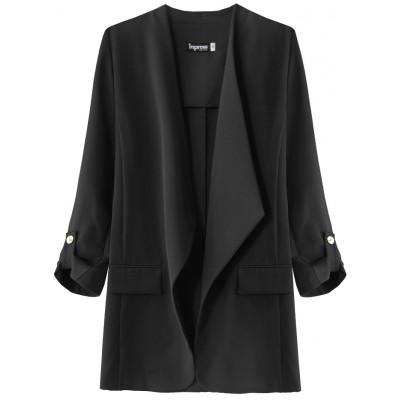 Dámsky kabátik s 3/4 rukávmi čierny (268ART)