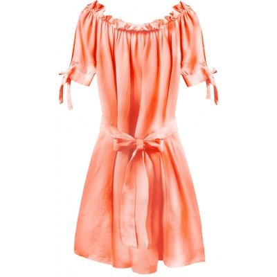 Dámske krátke šaty neónové lososové (279ART)