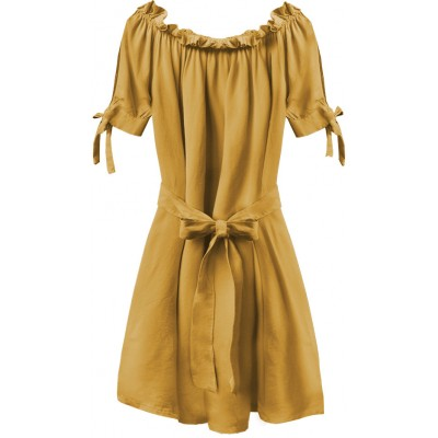 Dámske krátke šaty horčicové (279ART)