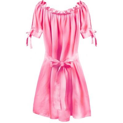 Dámske krátke šaty neónové ružové (279ART)